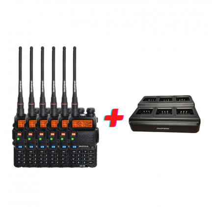 Комплект Радиостанций Baofeng UV-5R (5W) 6 шт. + зарядная станция на 6 устройств